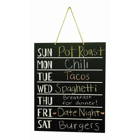 Wood Chalkboard Weekly Menu Meal Planner Wall art