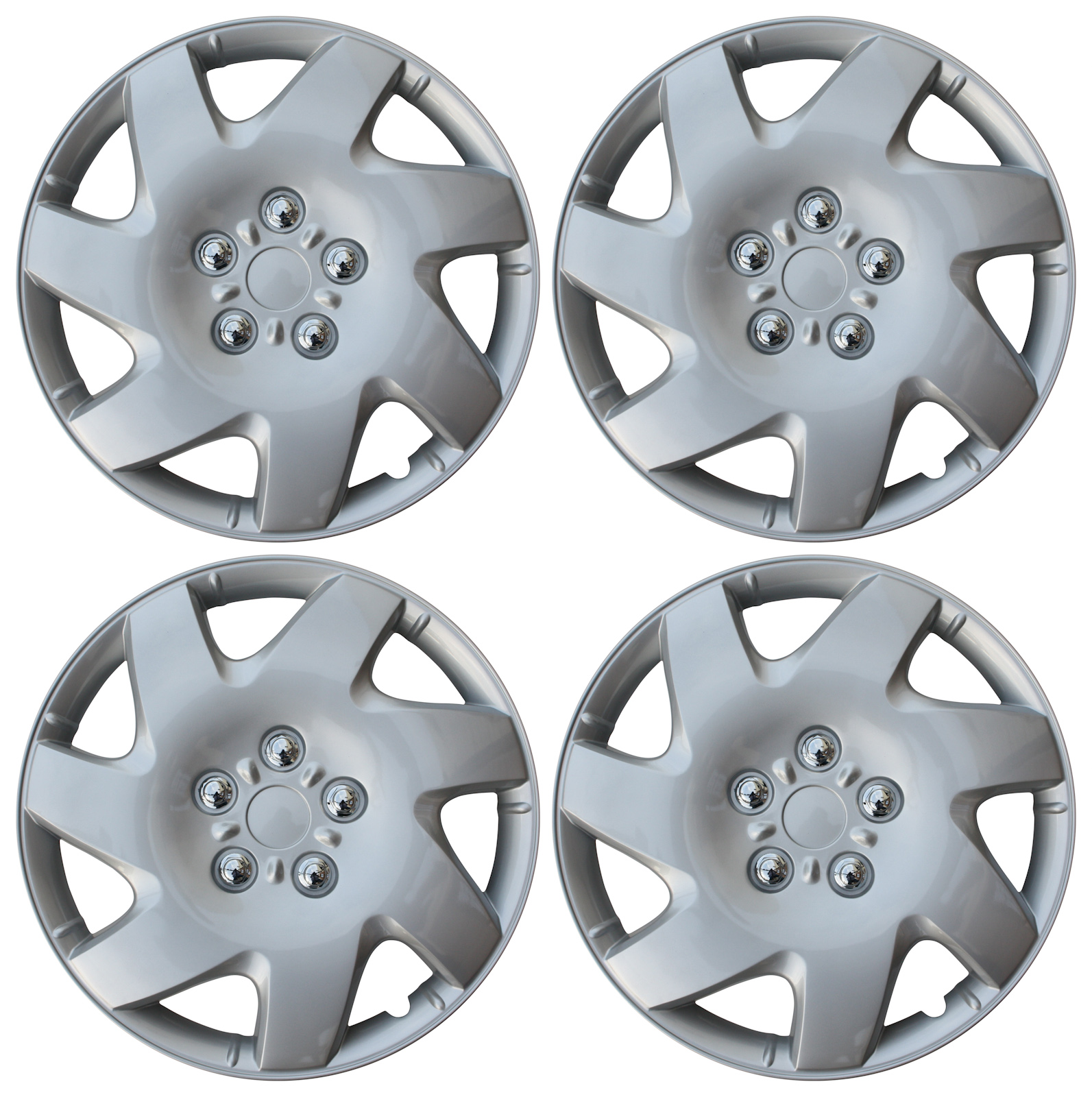 "Hub Cap ABS Silver 16"" Inch Rim Wheel Skin Cover Center 4 pc Set Caps Covers"