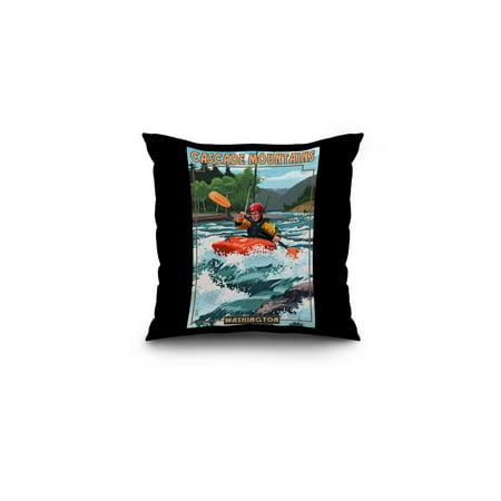 Cascade Mountains, Washington - Kayak Scene - Lantern Press Poster (16x16 Spun Polyester Pillow, Black Border)