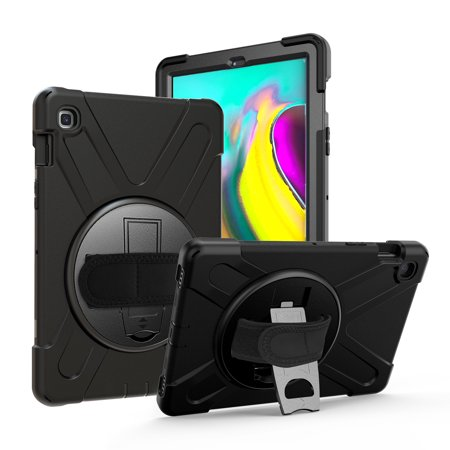 Galaxy Tab A 10.1 2019 T510 T515 Case, KIQ Shockproof Heavy Duty Case Stand Hand Secure Grip Shoulder Carrying Sling For Samsung Galaxy Tab A 10.1 SM-T510 SM-T515 (Shield Black)