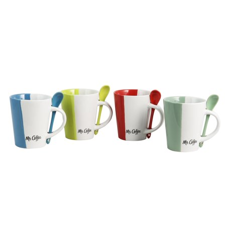 Mr. Coffee Ca Roma 8 Piece 14 oz. Mugs with Matching Spoons Set in 4 Assorted - Cheap Coffee Mugs
