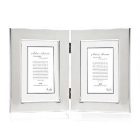 4x6 Classic Silver-Plated Hinged Double Vertical Standing Picture ...