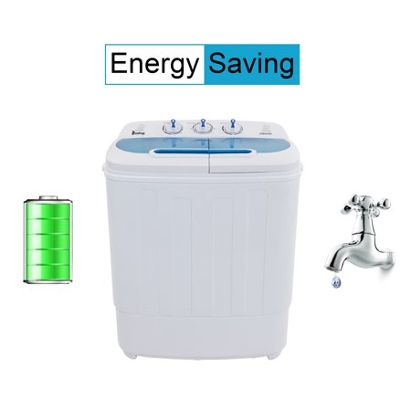 Portable Compact Mini Twin Tub Washing Machine w/Wash and Spin Cycle, 13Lbs Semi-automatic Washing Machine For Colthing, Camping, Apartments, Dorms, College Rooms, RV's and