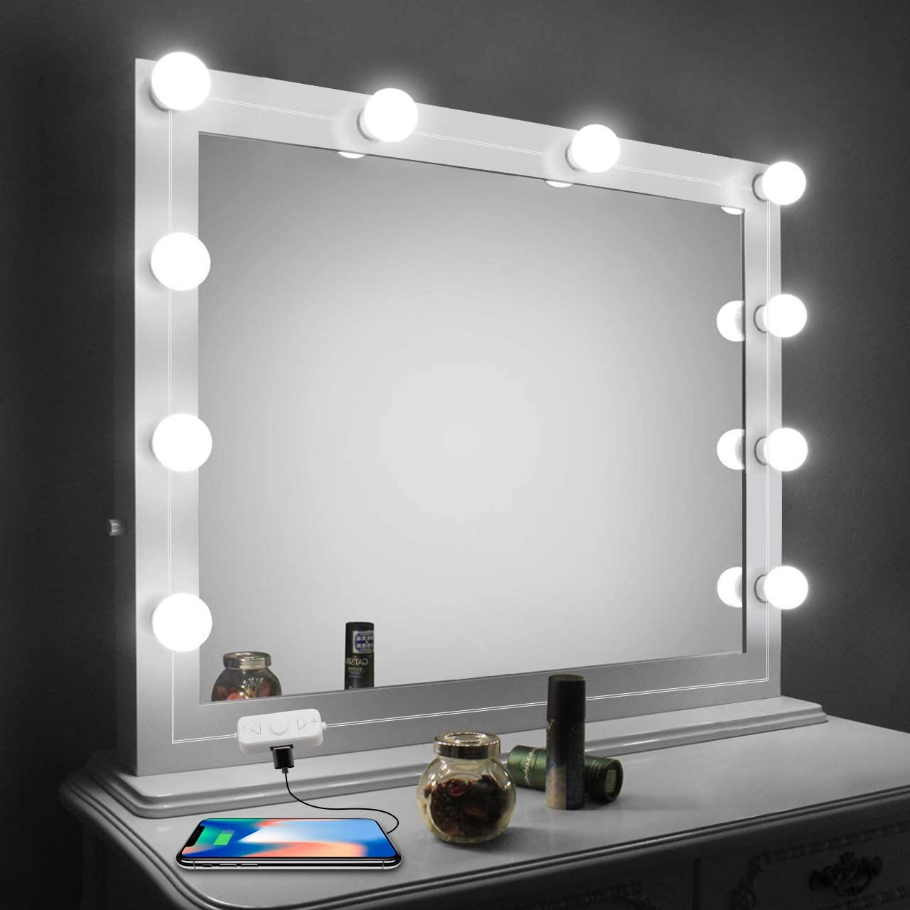 Vanity Mirror Lights Kit Led Lights For Mirror With Dimmer And Usb Phone Charger Led Makeup Mirror Lights Kit Hollywood Style Lighting Fixture Strip 6500k For Bathroom Dressing Room Vanity Table Walmart Com