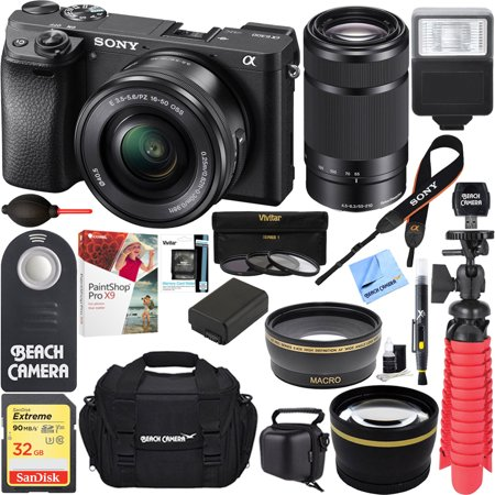 Sony ILCE-6300 a6300 4K Mirrorless Camera 16-50mm & 55-210mm Zoom Dual Lens Kit (Black) + 32GB Accessory Bundle + DSLR Photo Bag + Extra Battery+Wide Angle Lens+2x Telephoto Lens+Flash+Remote+Tripod](sony dslr camera deals)