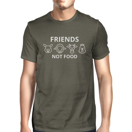 Friends Not Food Mens Dark Grey Crew Neck T Shirt Gift Idea For Him (Halloween Menu Ideas Food)