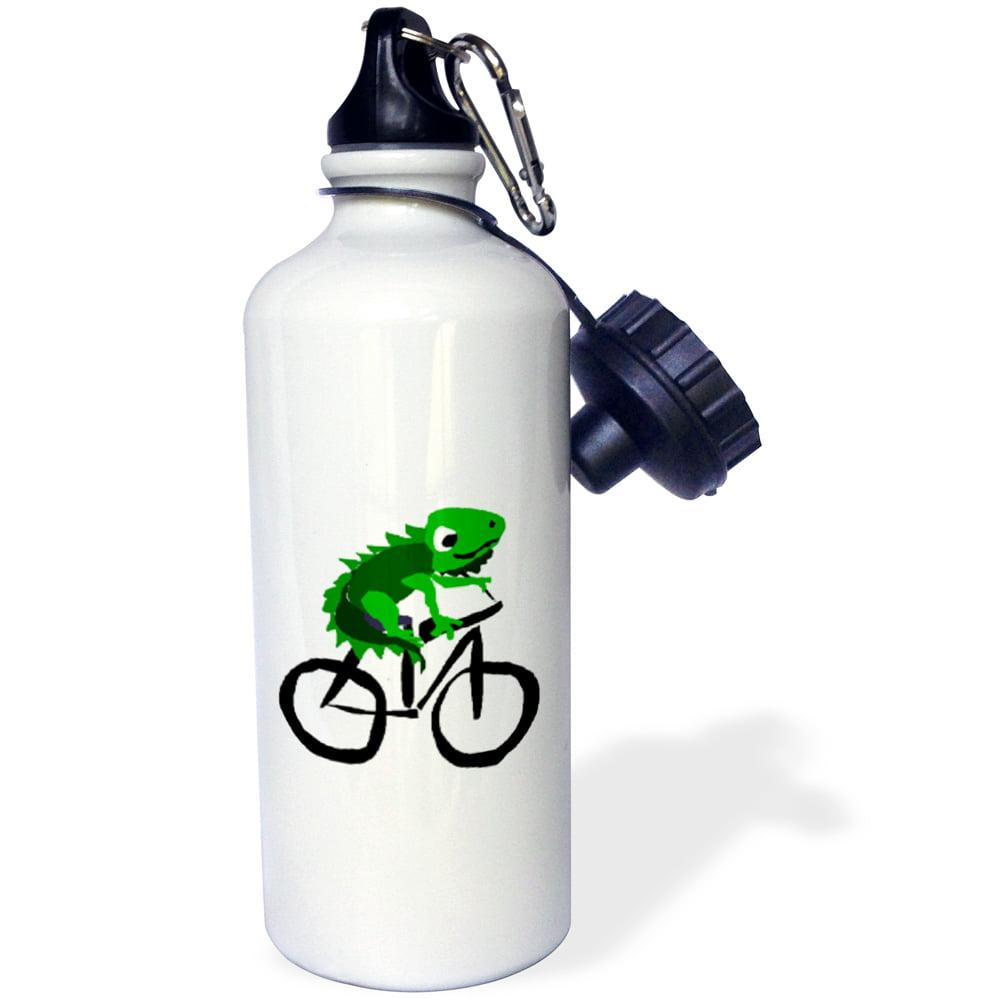 3dRose Funny Green Iguana Riding Bicycle Primitive Art, Sports Water Bottle, 21oz