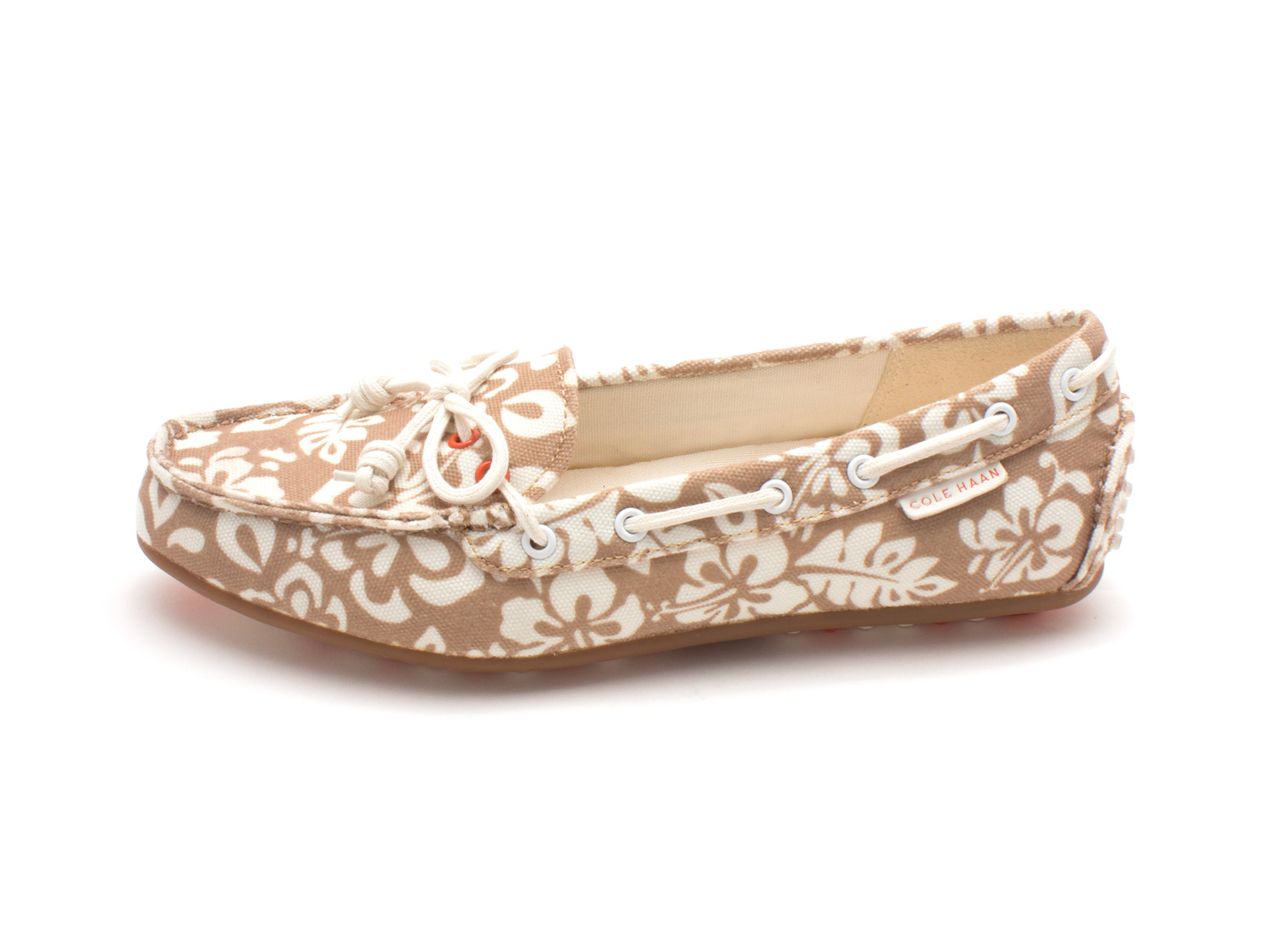 Cole Haan Womens Diannesam Closed Toe Boat Shoes, Tan/White Flowers, Size 6.0