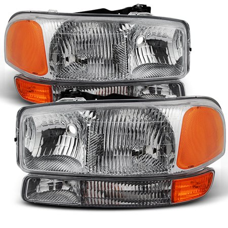 Fit 1999-2006 GMC Sierra 2000-2006 Yukon Replacement Headlights L+R Bumper lamps