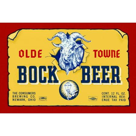 Olde Towne Bock Beer Stretched Canvas - Vintage Booze Labels (12 x 18)