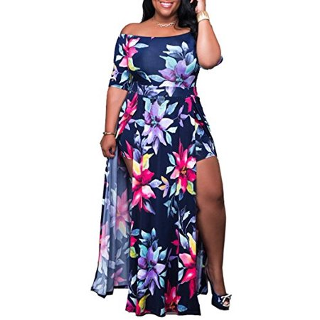 bdd8cbd3603 DYMADE - DYMADE Women s Off Shoulder Floral Print High Split Beach Maxi  Dress Jumpsuit Romper - Walmart.com