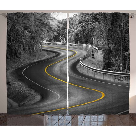 Black and White Decorations Curtains 2 Panels Set, Curvy Asphalt Road with Yellow Line Nature Forest Trees, Window Drapes for Living Room Bedroom, 108W X 90L Inches, Black Grey Yellow, by Ambesonne ()
