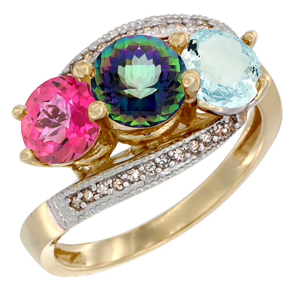 14K Yellow Gold Natural Pink Topaz, Mystic Topaz & Aquamarine 3 stone Ring Round 6mm Diamond Accent, size 5.5 by Gabriella Gold