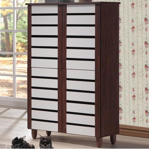 Baxton Studio Gisela Oak and White 2-tone Shoe Cabinet With 4 Door