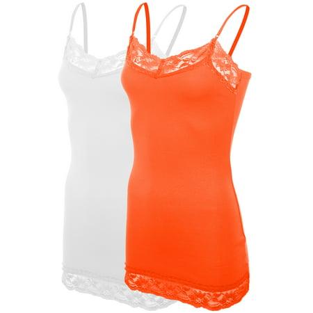 e85a39efaa8 Women s Classic Casual Lace Trim Base Layer Camisole Spaghetti Strap ...