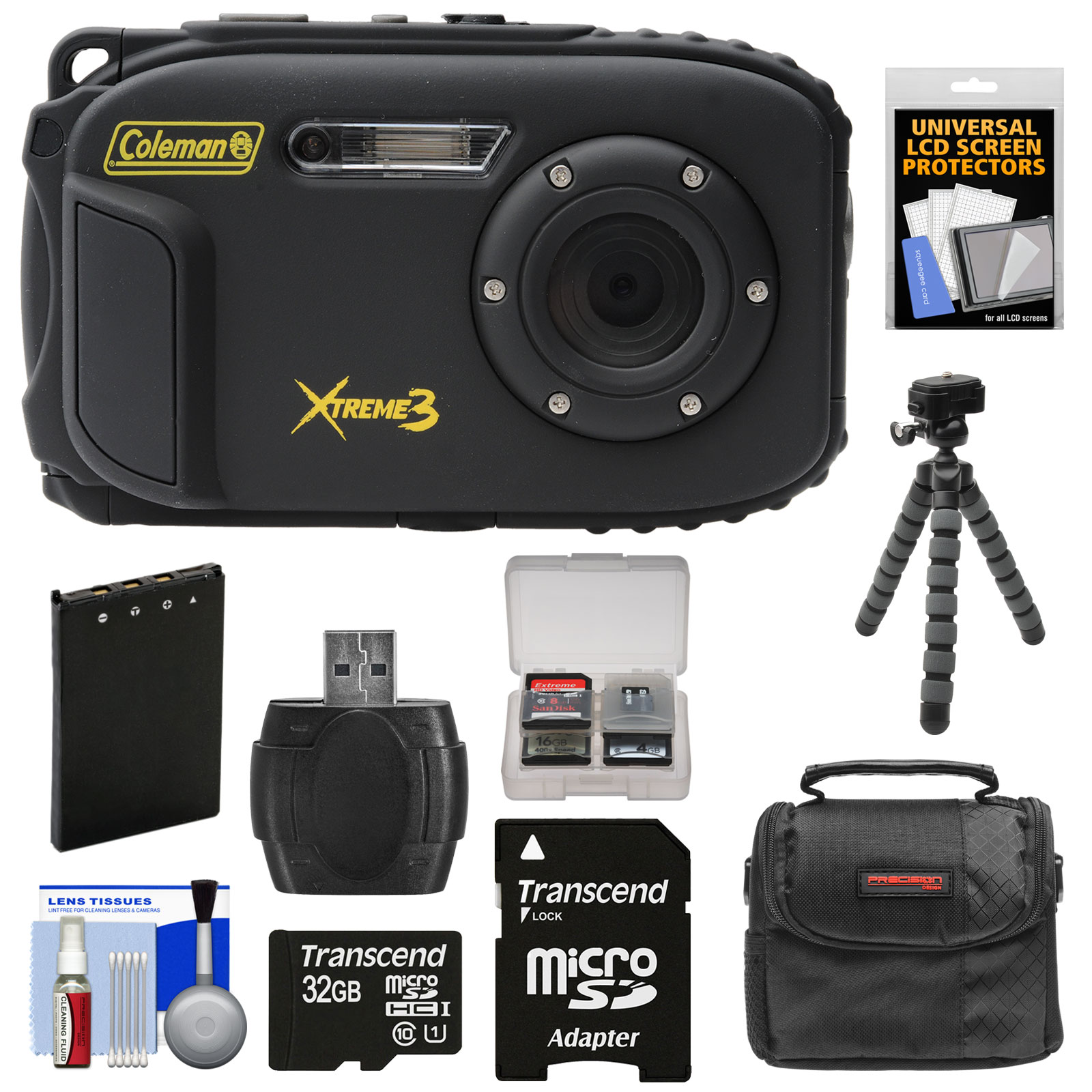 Coleman Xtreme3 C9WP Shock & Waterproof 1080p HD Digital Camera (Blue) with 32GB Card + Battery + Case + Flex Tripod + Kit