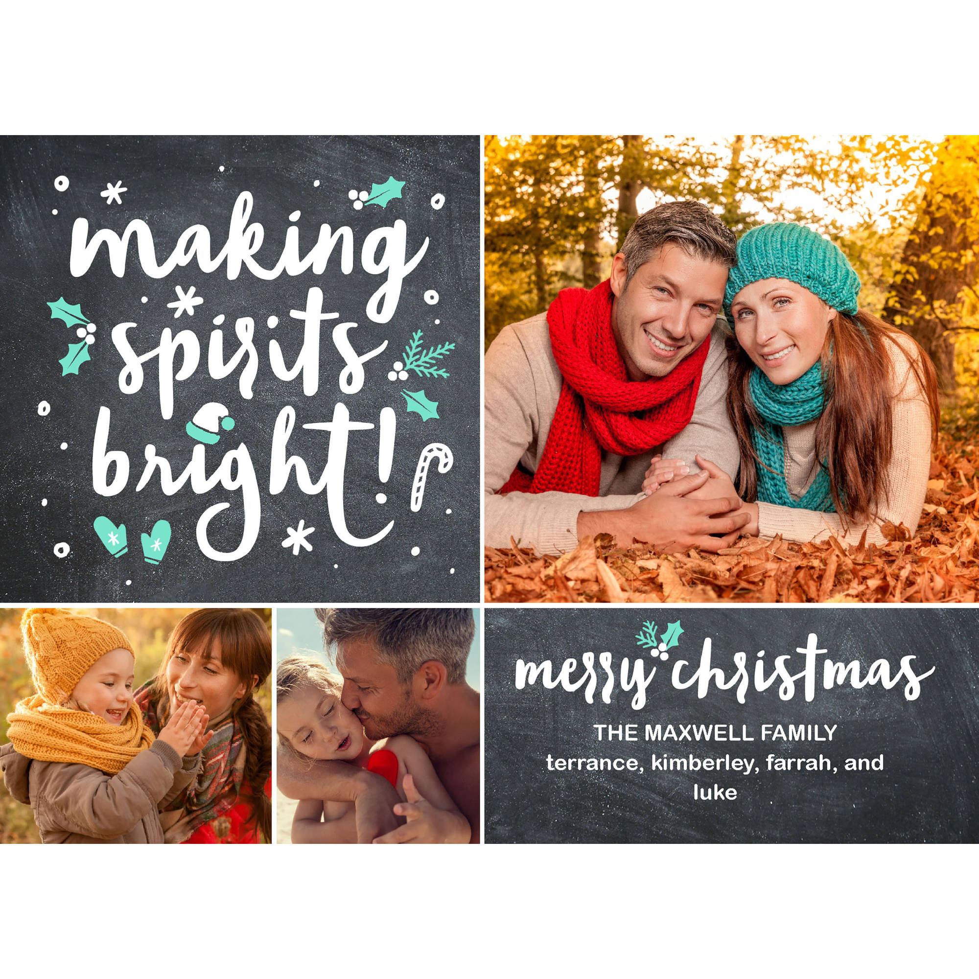 Making Spirits Bright - 5x7 Personalized Merry Christmas Holiday Card