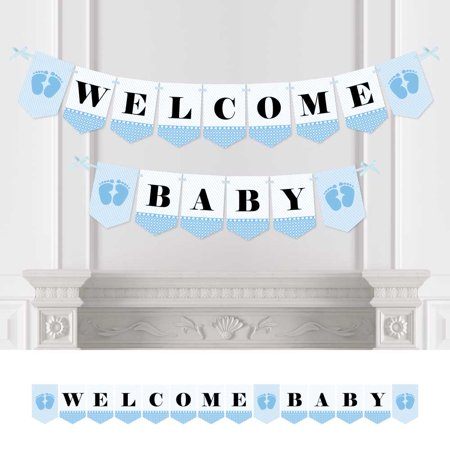 baby feet blue - baby shower bunting banner - boy party decorations - welcome baby](Welcome Baby Boy Banner)