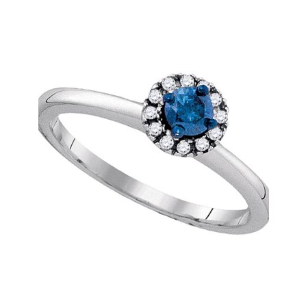 Sterling Silver Womens Round Blue Color Enhanced Diamond Solitaire Bridal Wedding Engagement Ring 1/4 Cttw - April Wedding Colors