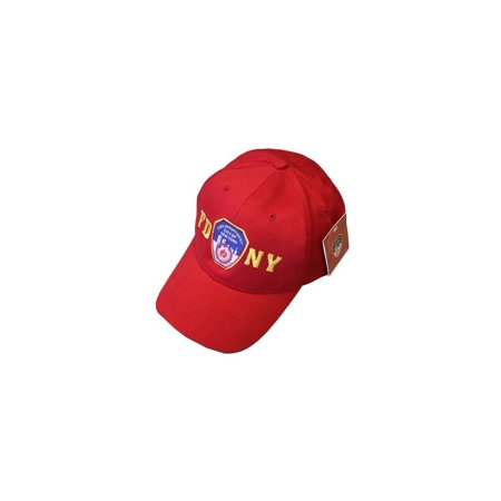 FDNY Baseball Hat Police Badge Fire Department Of New York City Red & Gold On...