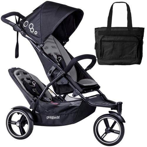Phil & Teds Dot Double Stroller with Second Seat With Diaper Bag Graphite by phil%26teds