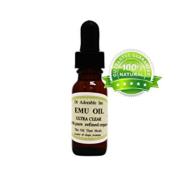 Dr. Adorable - 100% Pure Australian ULTRA CLEAR EMU OIL Refined Organic Moisturizing Oil For Face Skin Hair - 0.6 Oz
