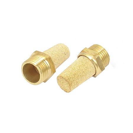 3/8BSP Thread Brass Pneumatic Air Exhaust Breather Muffler Filter 2pcs