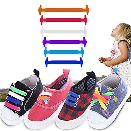 Clearance! 12 Pcs Set Lazy Elastic Silicone Shoelaces No Tie Running Sneakers Shoe Strings for Kids Child Teen Boys Girls](Light Up Shoe Strings)