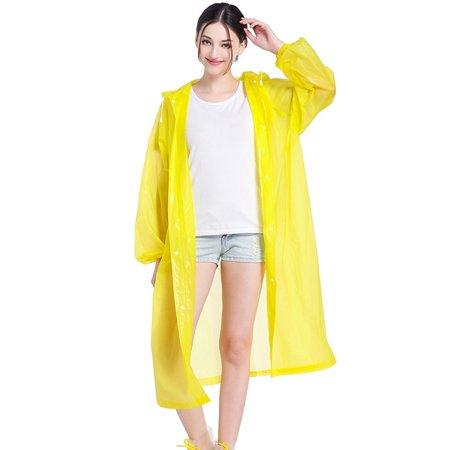 TURNTABLE LAB Adult Raincoat Transparent Waterproof Plastic Reusable Rain Poncho Hood -