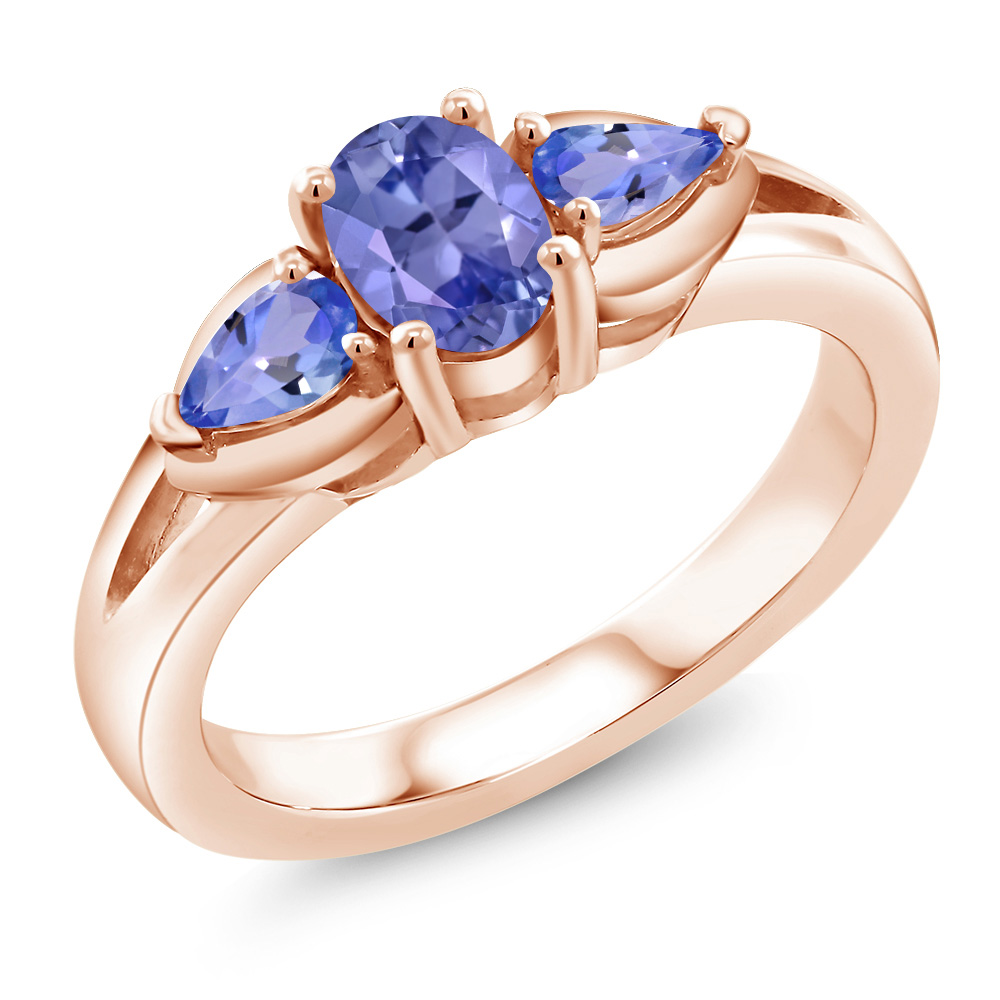 1.15 Ct Oval Blue Tanzanite 18K Rose Gold Plated Silver Ring by