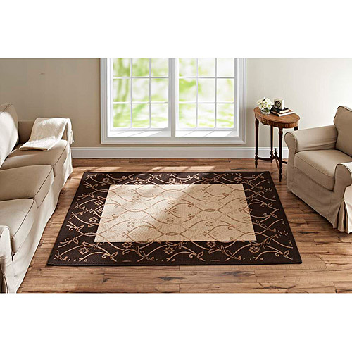 Better Homes and Gardens Tulip Scroll Woven Rug, Dark Brown, Beige and Tan