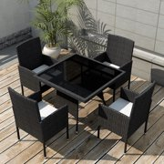Anself Outdoor Dining Set Nine Pieces Poly Rattan Black