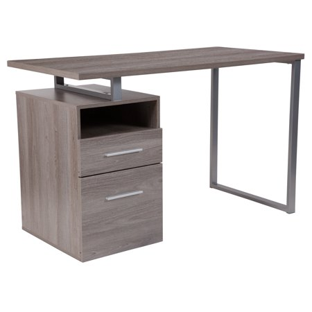 Flash Furniture Harwood Light Ash Wood Grain Finish Computer Desk with Two Drawers and Silver Metal