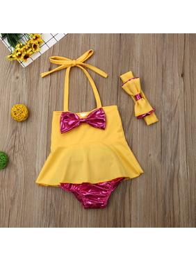 61543ae654d36 Product Image 3Pcs/Set Kids Toddler Baby Girl Mermaid Swimsuits Halter Swimwear  Bikini Set with Headband