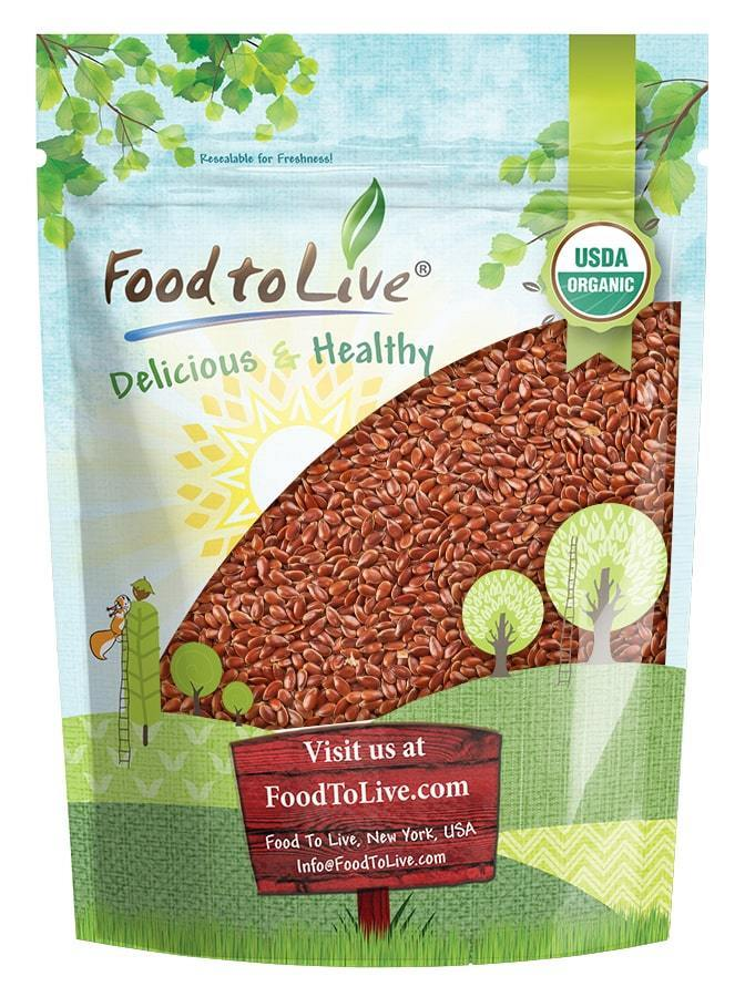 Organic Brown Flax Seeds, 8 Ounces — Whole Flaxseeds, Non-GMO, Kosher, Raw, Dried, Sproutable, Bulk — by Food to Live