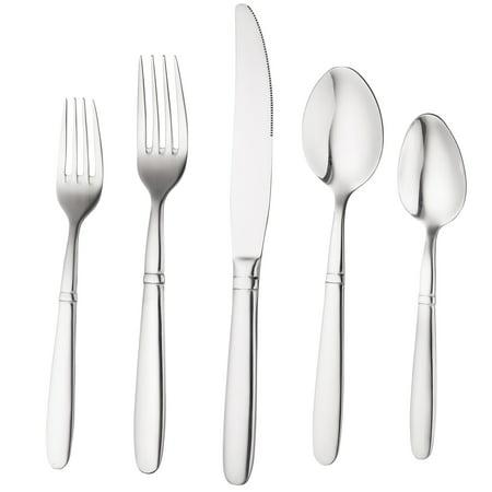 Bruntmor, CRUX Silverware Royal 40 Piece Flatware Cutlery Set, 18/10 Stainless Steel, Service for 8 - Lifetime Warranty 100% Rust Proof ()