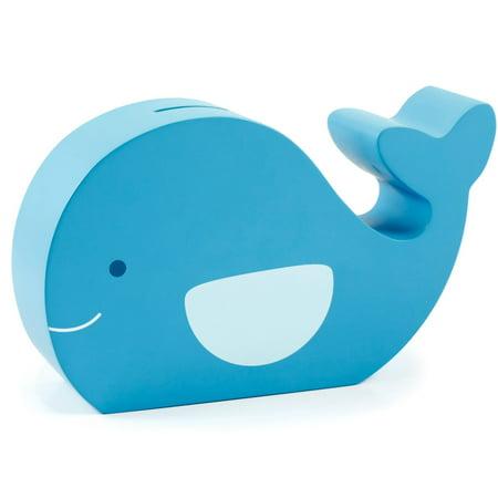 Pearhead Wooden Whale Piggy Bank, Blue (Wooden Piggy Banks)