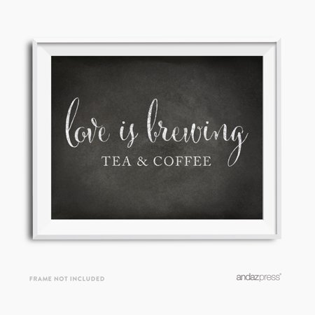 Tea & Coffee Love Is Brewing Vintage Chalkboard Wedding Party Signs