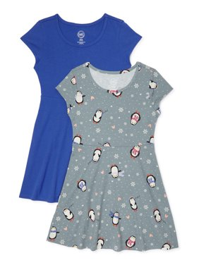 Wonder Nation Girls Holiday Short Sleeve Play Dress, 2 Pack, Sizes 4-18 & Plus
