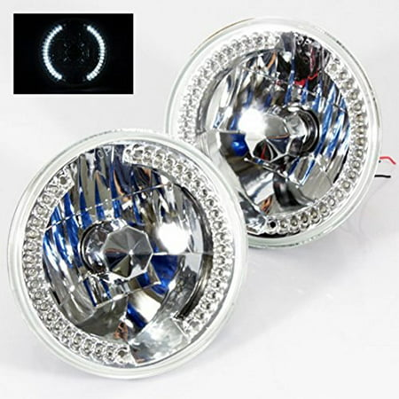 "1975-1980 Chevy C10 C20 c30 7"" Round 6014/6015/6024 Chrome Diamond Headlights White LED Halo Ring Set"