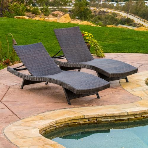Wicker Multi-brown Outdoor Adjustable Lounges - Set of 2