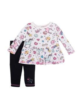 7f58e8e6d63b Newborn Baby Girl Long Sleeve Peplum Top   Legging 2pc Outfit Set