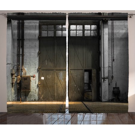 Industrial Decor Curtains 2 Panels Set, Enter Of An Old Factory Building From 50S With Broken Rusty Door Empty Storage Photo, Living Room Bedroom Accessories, By Ambesonne ()