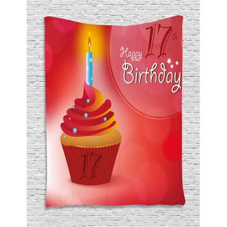 17th Birthday Decorations Tapestry, Sweet Seventeen Party Theme with Cupcake and Candle Image, Wall Hanging for Bedroom Living Room Dorm Decor, 40W X 60L Inches, Red and Vermilion, by Ambesonne (Cupcake Birthday Theme)