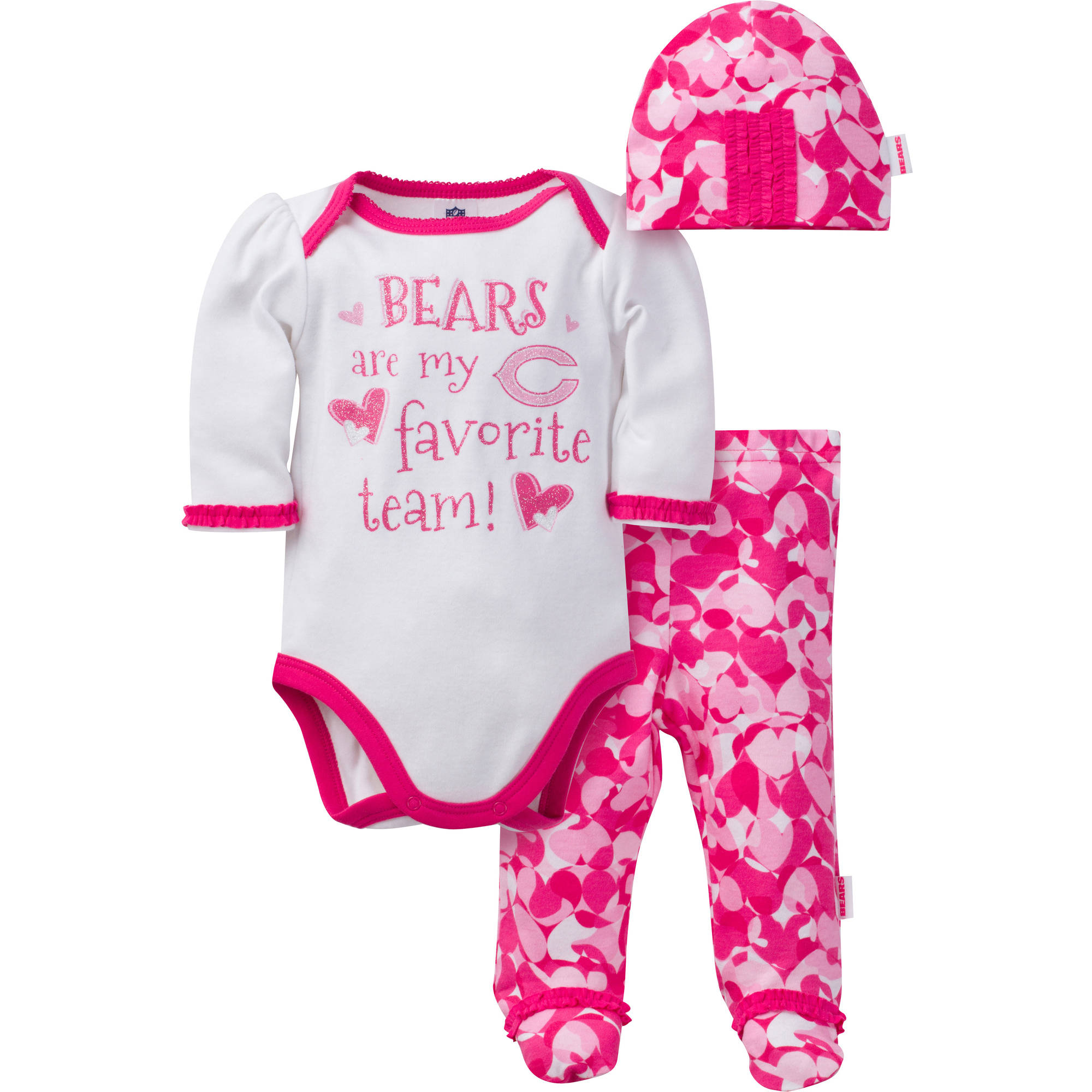 NFL Chicago Bears Baby Girls Bodysuit, Pant and Cap Outfit Set, 3-Piece