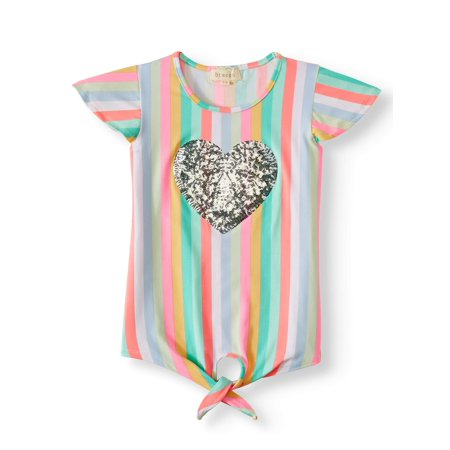 Sequin Heart Rainbow Stripe Tie-Front Top (Big Girls)
