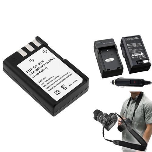 Insten 2 Battery+Charger+Strap EN-EL9 MH-23 For Nikon D40X D60