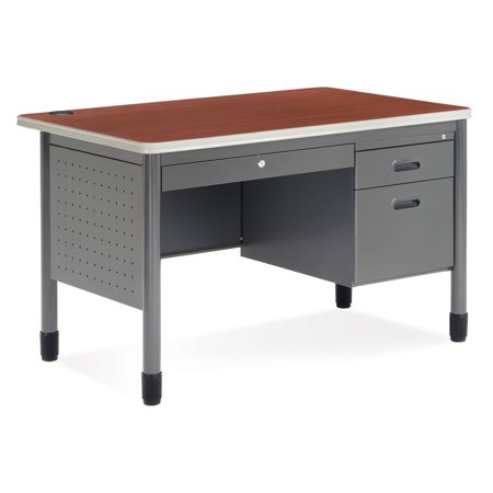 66348-CHY School Furniture 29.50 Inch x 47.25 Inch Mesa Series GRAY Frame CHERRY laminate top Single Pedestal Teacher's