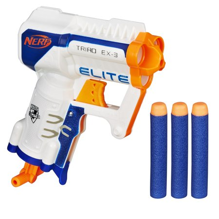 Nerf N-Strike Elite Triad EX-3 Blaster with 3 Nerf Elite (Best Nerf Gift For A 7 Year Old Boys)