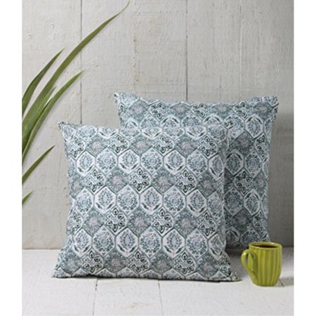 - Store Indya 100% Cotton Toss Pillow Covers Throw Pillow Cushion Covers Set of 2 for Sofa Grey Floral Design Home Bedding Decor 18 x 18 Inches